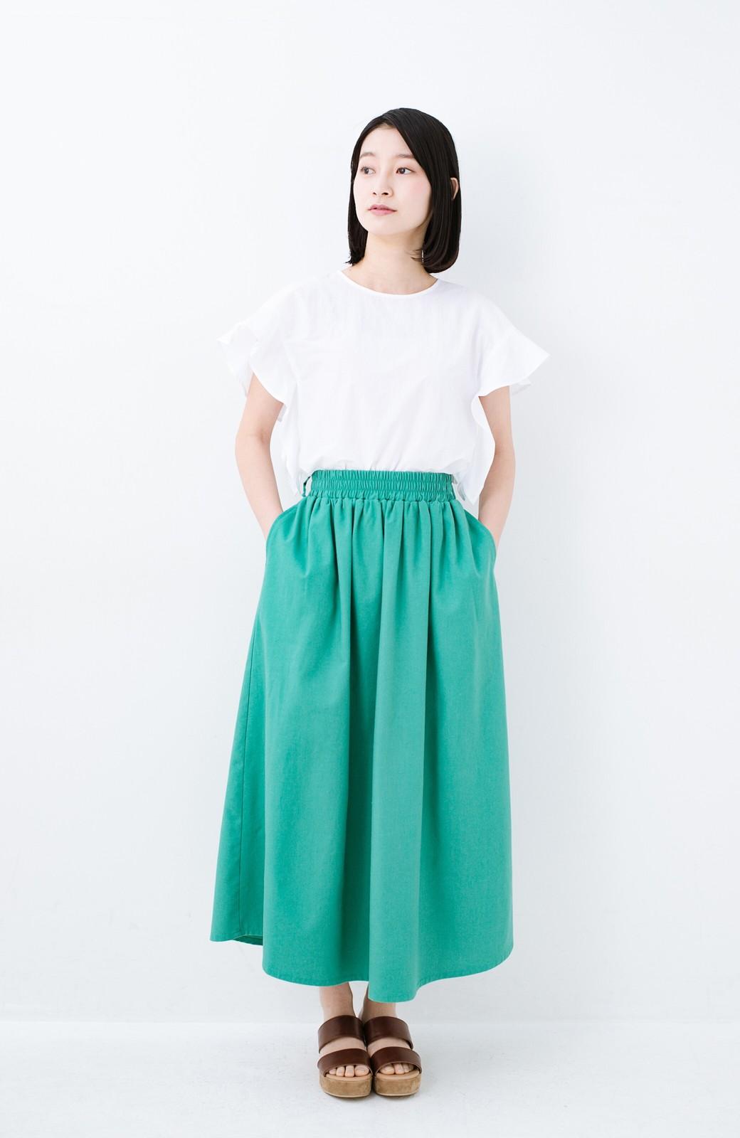 haco! 楽してスタイルが決まる 涼やか麻混スカート <グリーン>の商品写真8