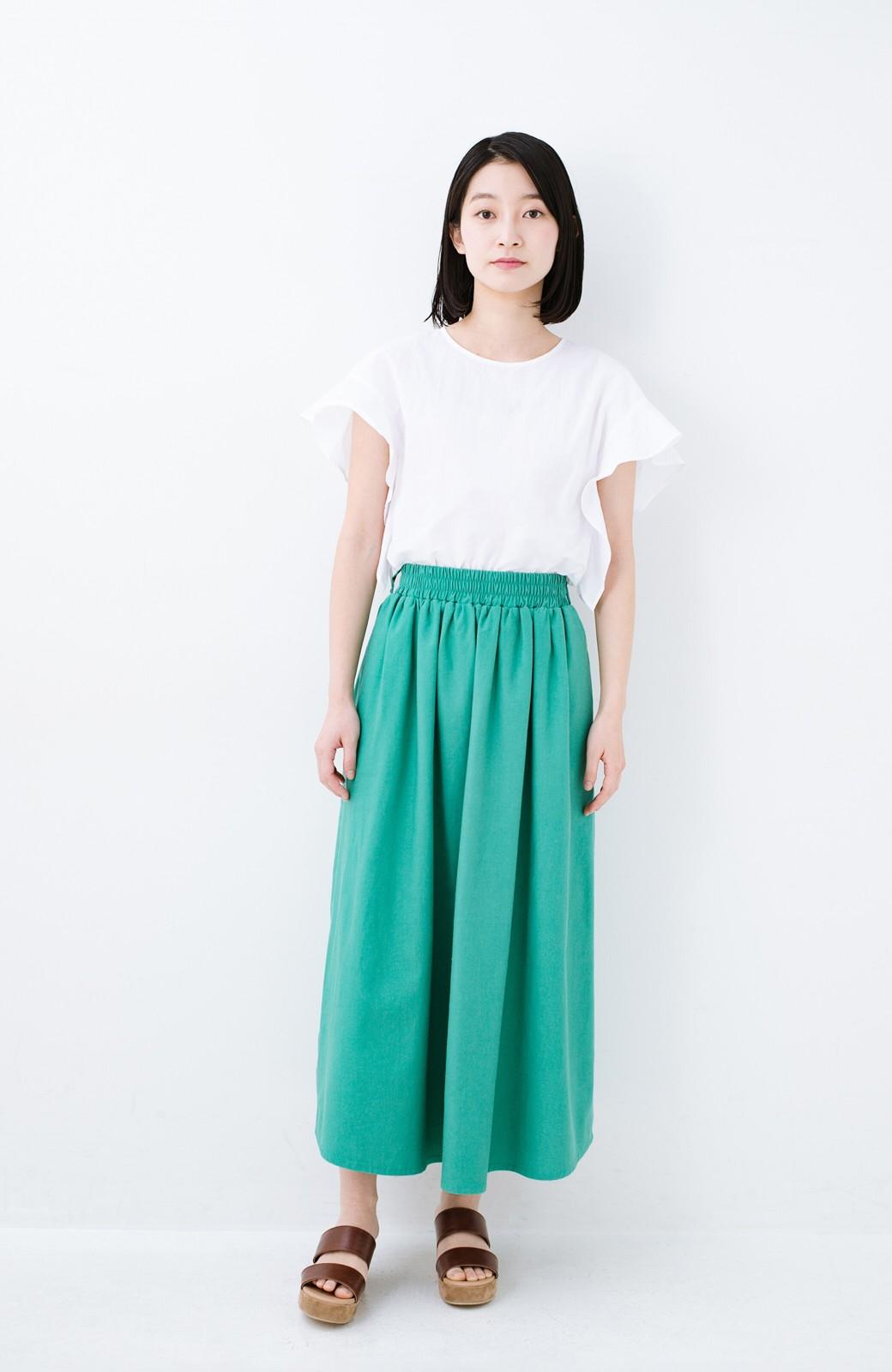 haco! 楽してスタイルが決まる 涼やか麻混スカート <グリーン>の商品写真11