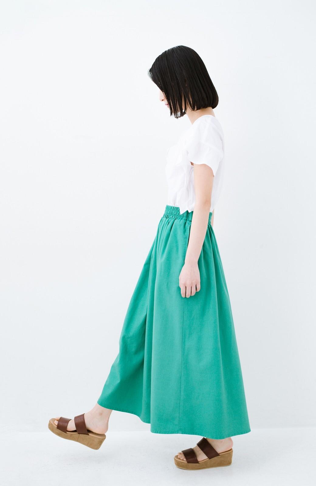 haco! 楽してスタイルが決まる 涼やか麻混スカート <グリーン>の商品写真9
