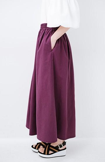 haco! 楽してスタイルが決まる 涼やか麻混スカート <パープル>の商品写真