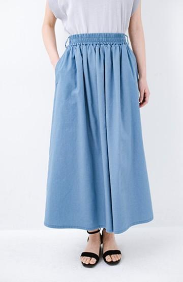 haco! 楽してスタイルが決まる 涼やか麻混スカート <ライトブルー>の商品写真
