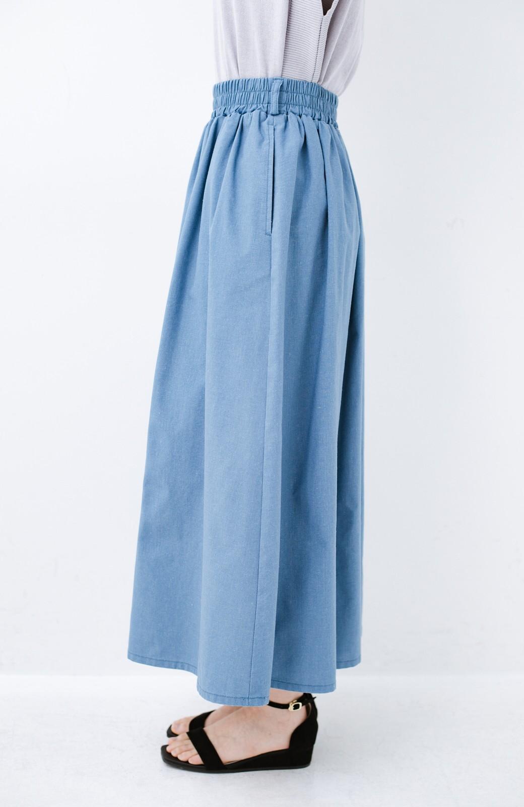 haco! 楽してスタイルが決まる 涼やか麻混スカート <ライトブルー>の商品写真4