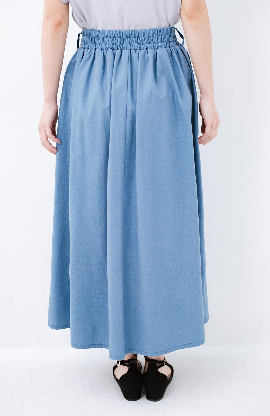 haco! 楽してスタイルが決まる 涼やか麻混スカート <ライトブルー>の商品写真7
