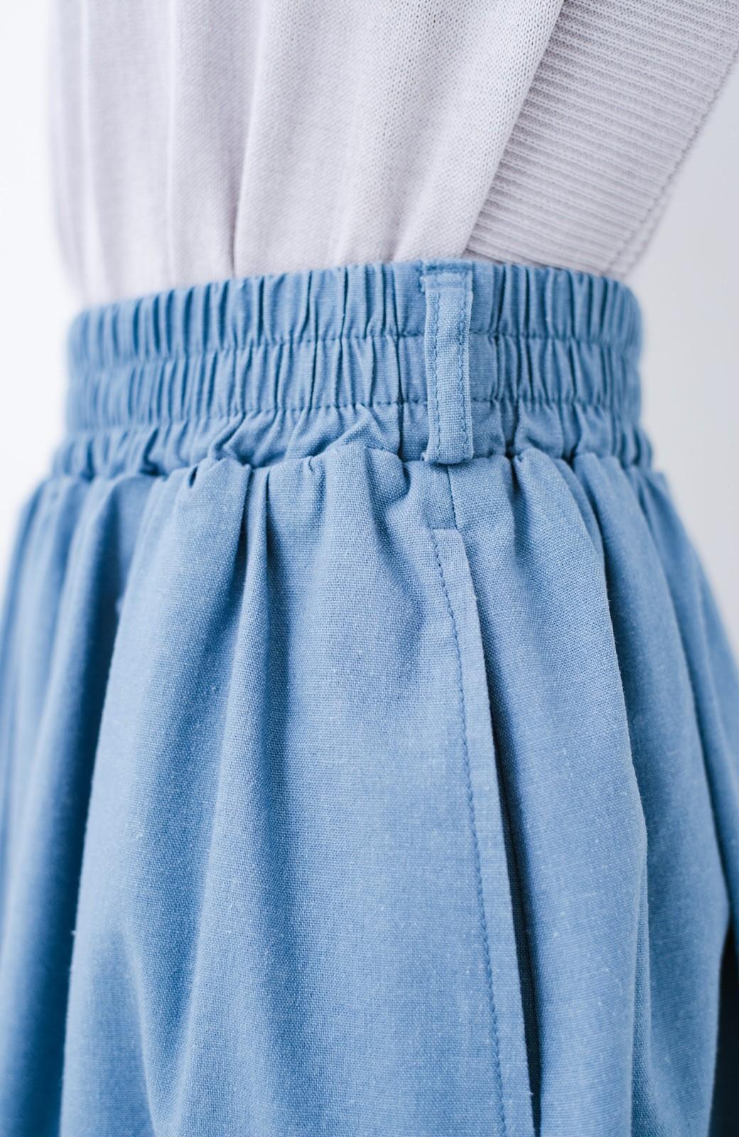 haco! 楽してスタイルが決まる 涼やか麻混スカート <ライトブルー>の商品写真8