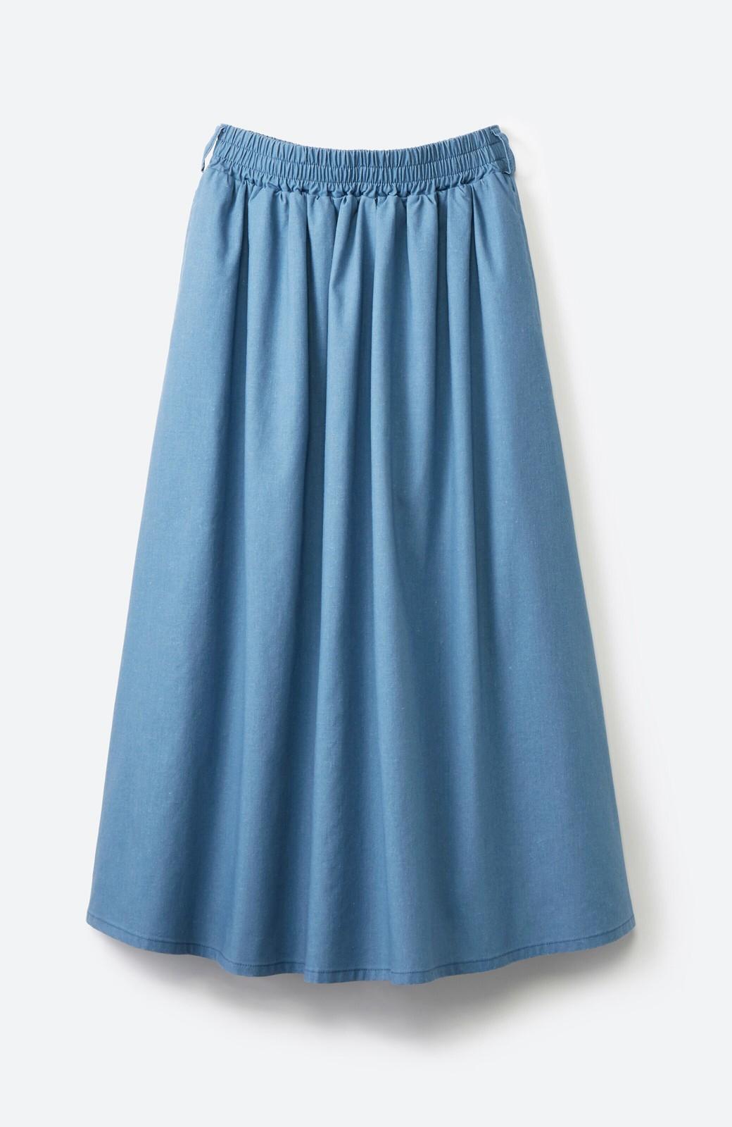haco! 楽してスタイルが決まる 涼やか麻混スカート <ライトブルー>の商品写真2