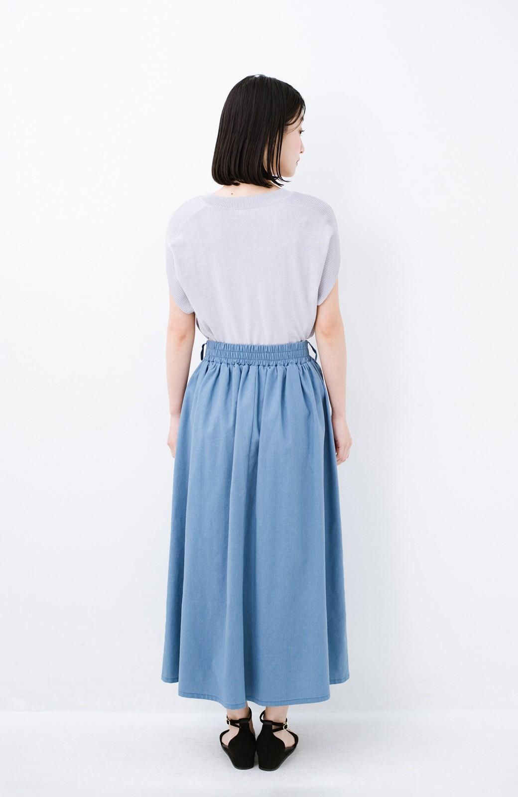haco! 楽してスタイルが決まる 涼やか麻混スカート <ライトブルー>の商品写真13