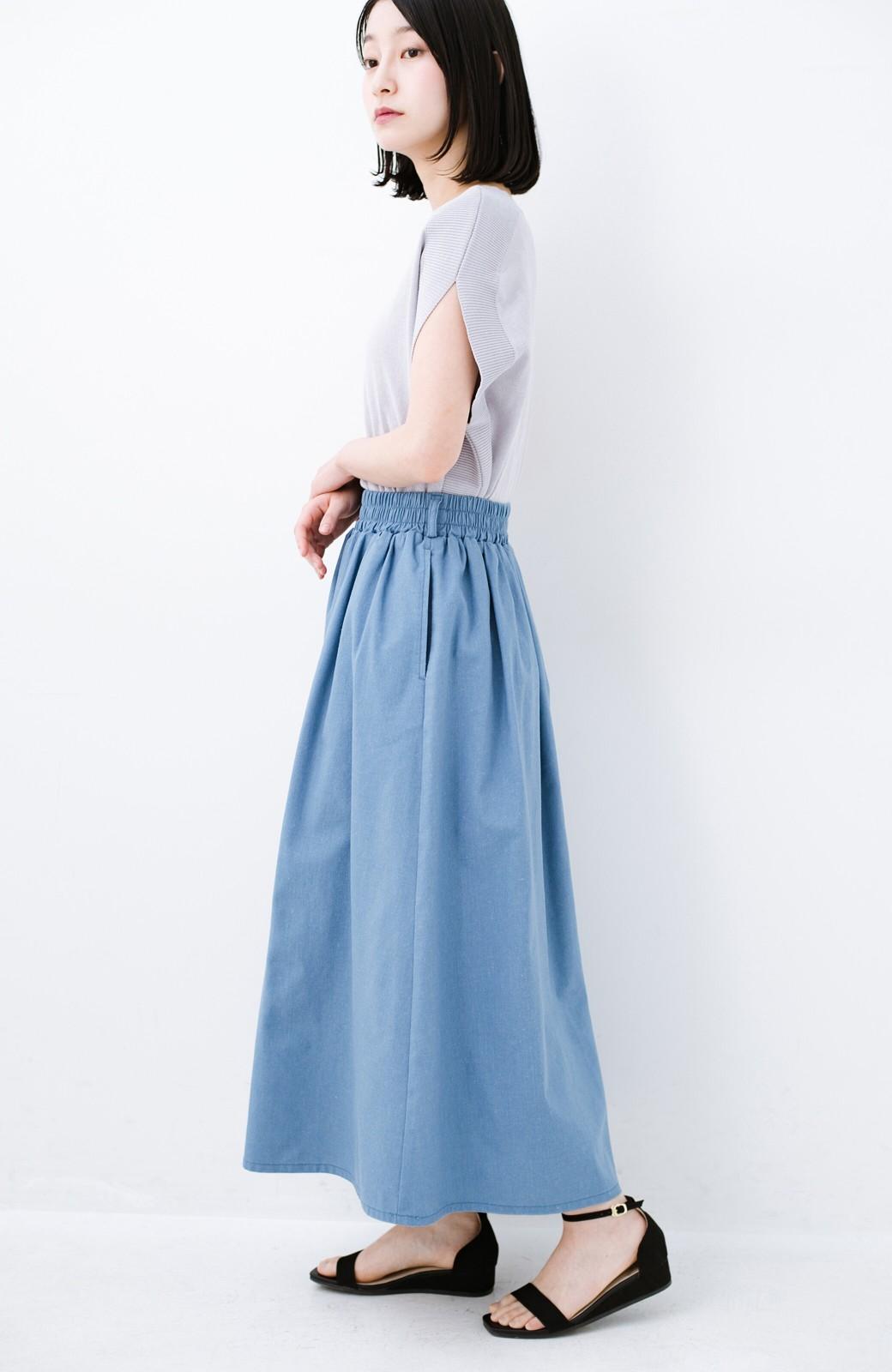 haco! 楽してスタイルが決まる 涼やか麻混スカート <ライトブルー>の商品写真14