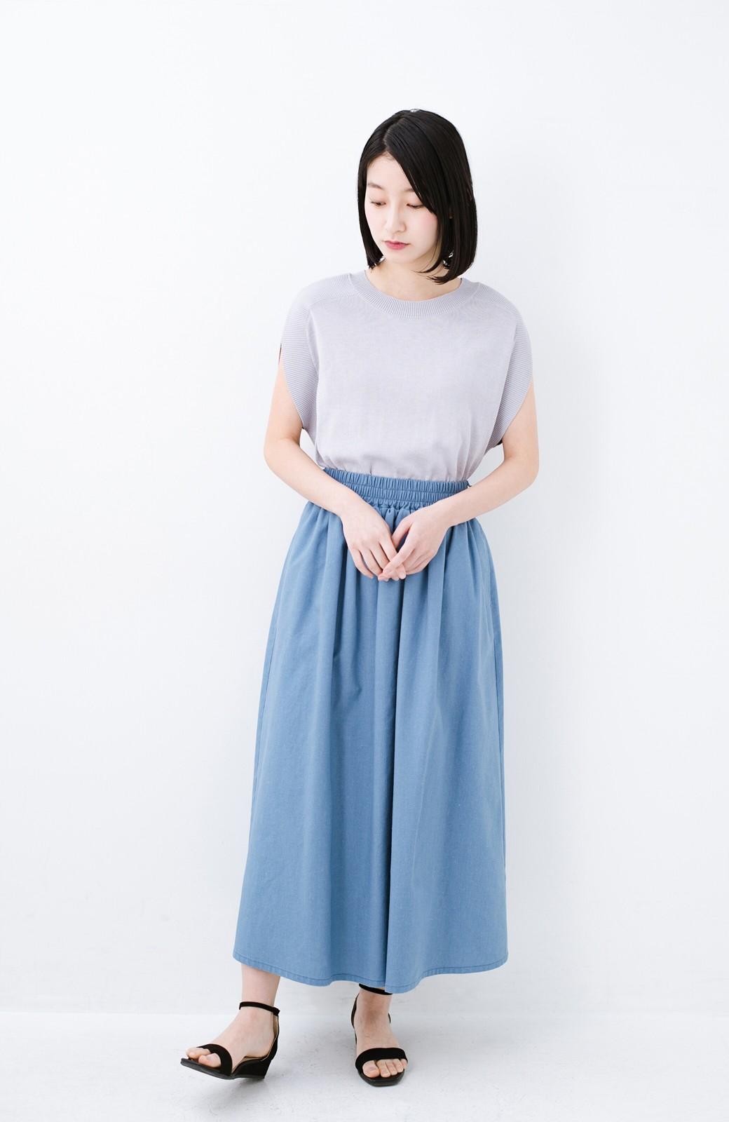 haco! 楽してスタイルが決まる 涼やか麻混スカート <ライトブルー>の商品写真10