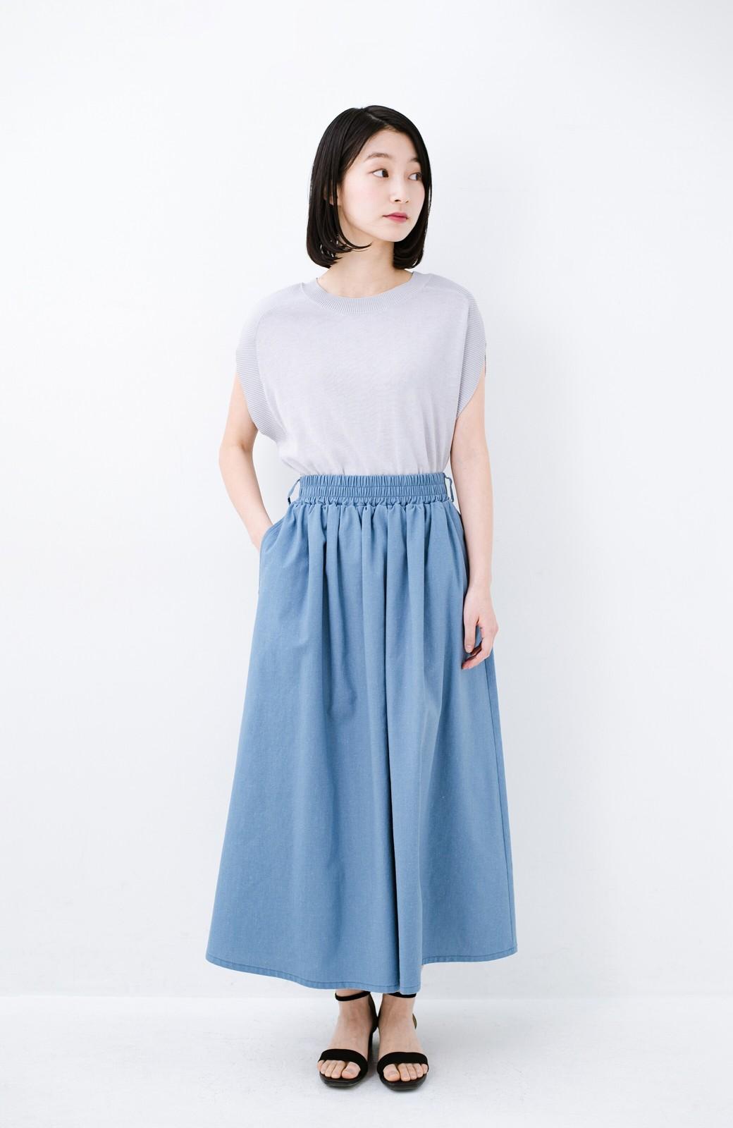 haco! 楽してスタイルが決まる 涼やか麻混スカート <ライトブルー>の商品写真11