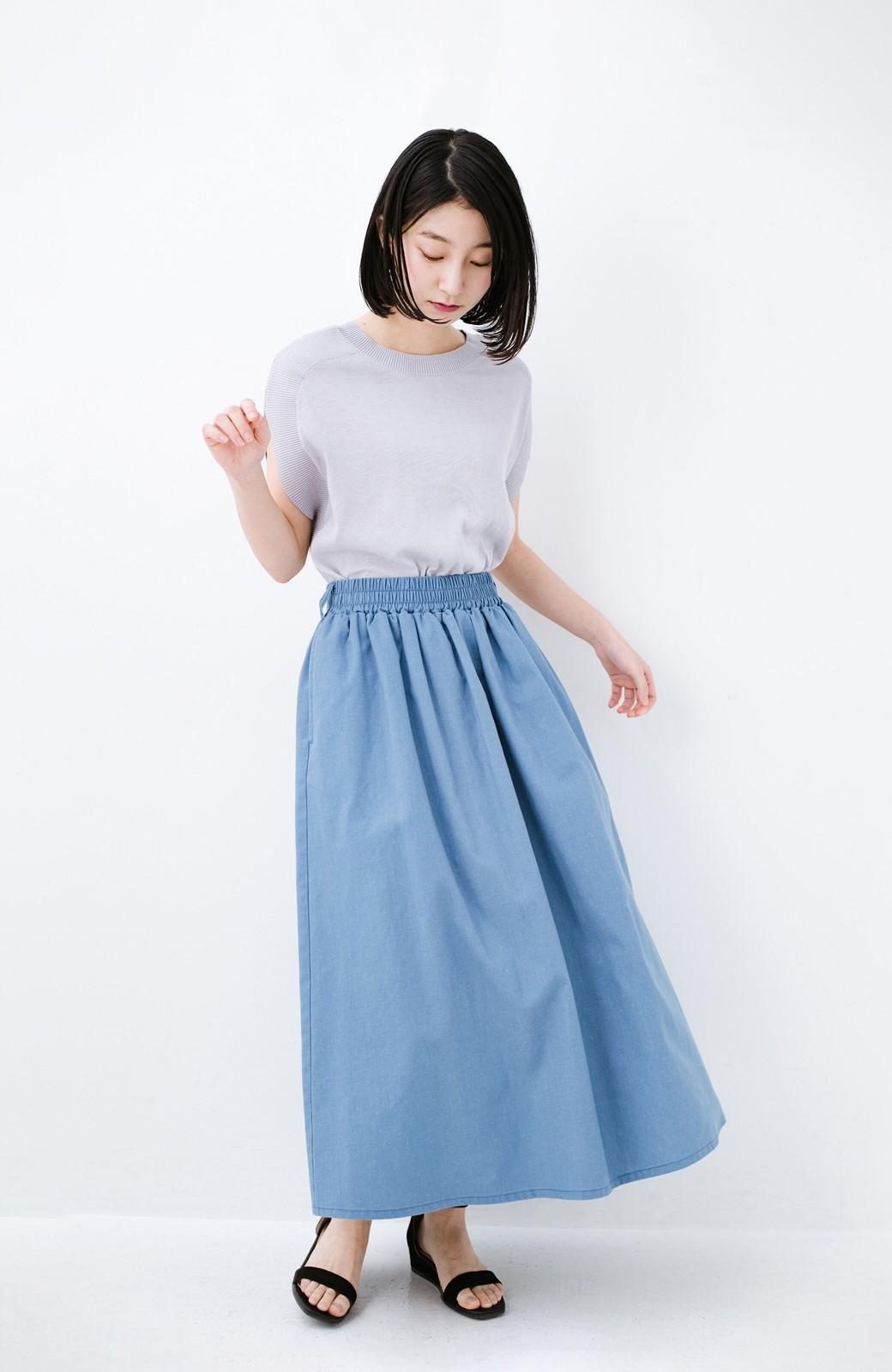 haco! 楽してスタイルが決まる 涼やか麻混スカート <ライトブルー>の商品写真1
