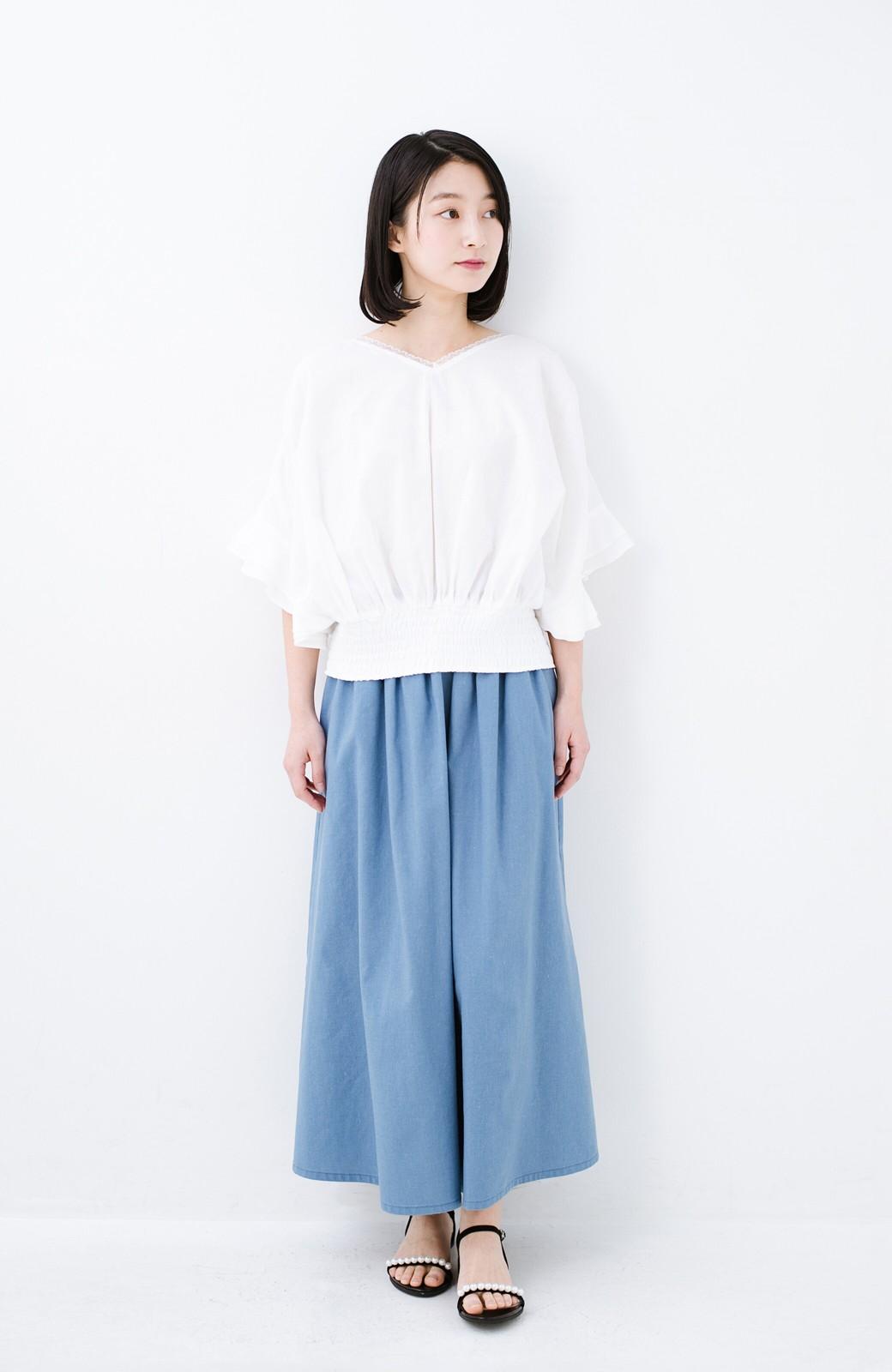 haco! 楽してスタイルが決まる 涼やか麻混スカート <ライトブルー>の商品写真3