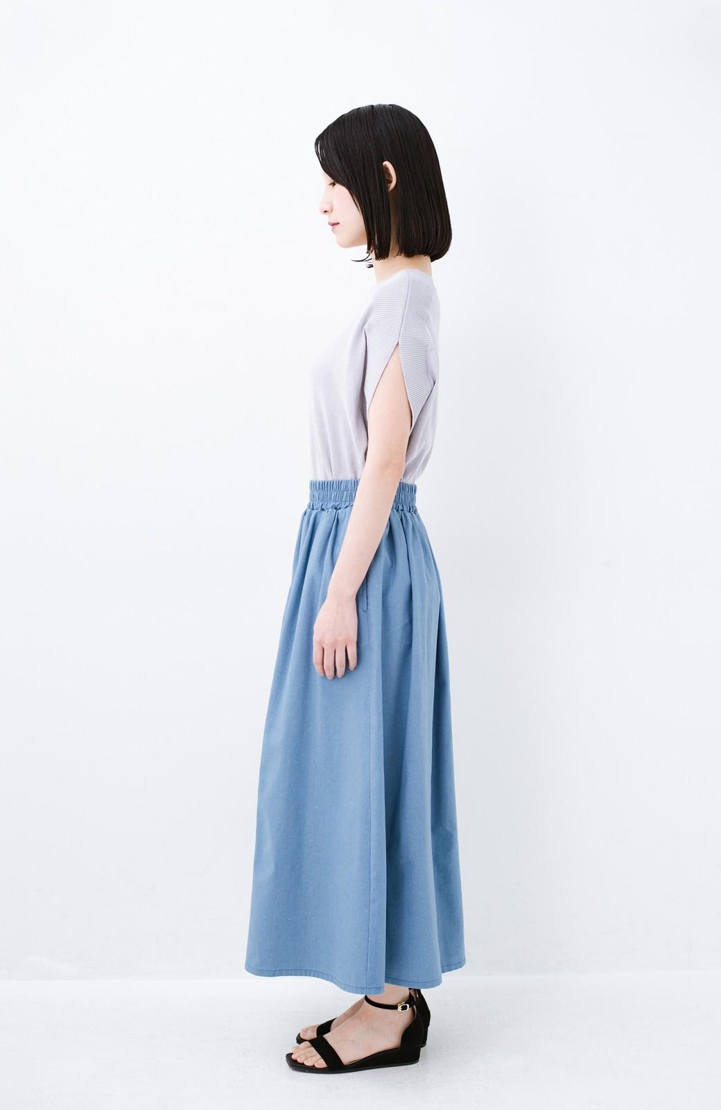 haco! 楽してスタイルが決まる 涼やか麻混スカート <ライトブルー>の商品写真12