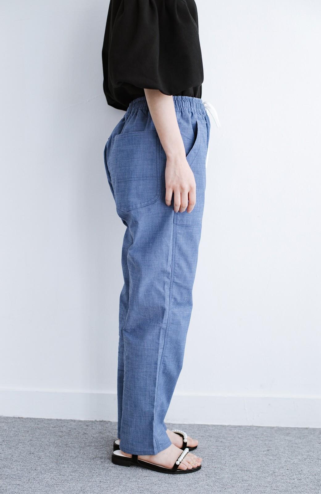 haco! Lady Lee シャンブレー素材のらくちんイージーパンツ <ブルー>の商品写真2