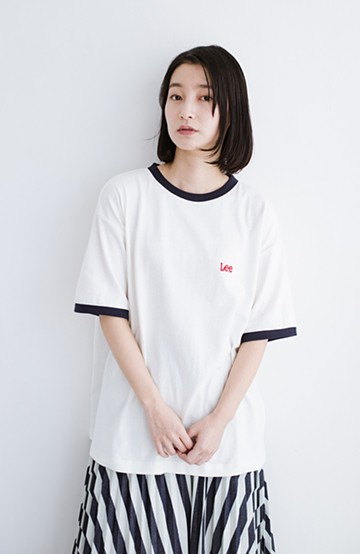 haco! Lady Lee ロゴ入りリンガーTシャツ <ホワイト>の商品写真