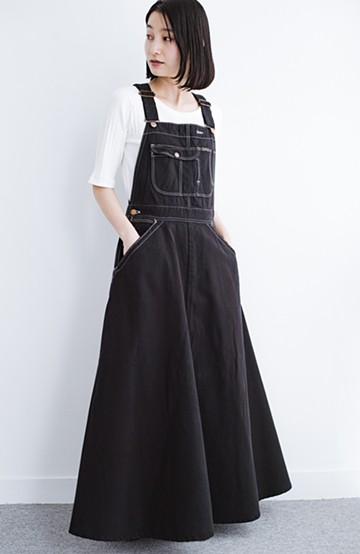 haco! Wrangler ロング丈フレアーサロペットスカート <ブラック>の商品写真