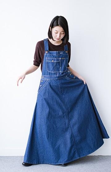 haco! Wrangler ロング丈フレアーサロペットスカート <インディゴブルー>の商品写真