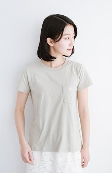 haco! Lady Lee ポケット付きコンパクトフィットTシャツ <ベージュ>の商品写真