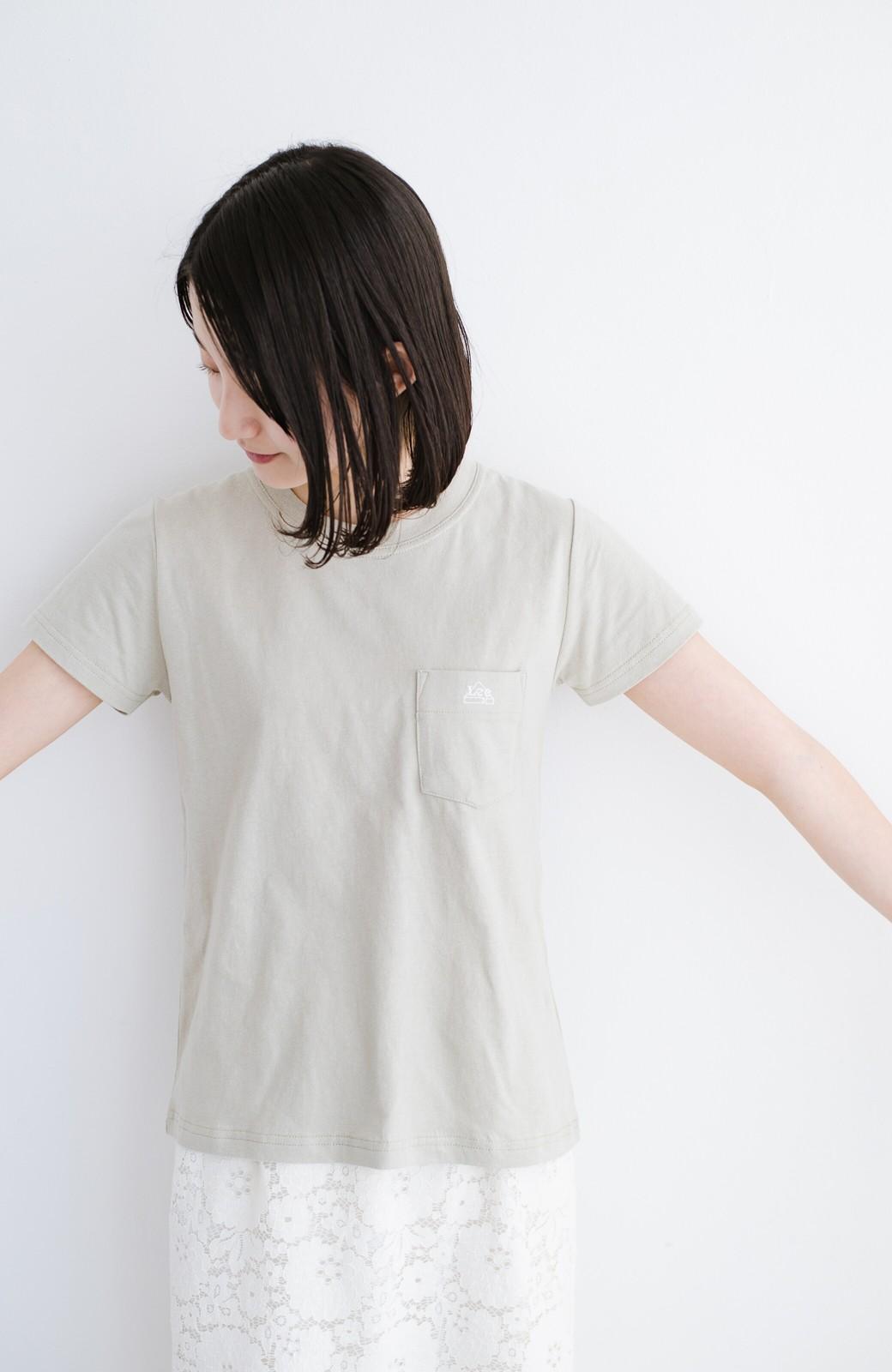 haco! Lady Lee ポケット付きコンパクトフィットTシャツ <ベージュ>の商品写真5