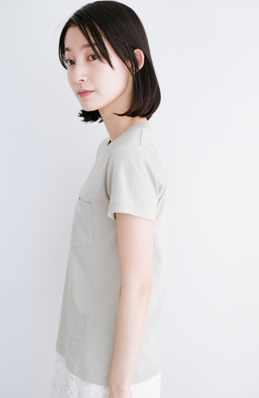 haco! Lady Lee ポケット付きコンパクトフィットTシャツ <ベージュ>の商品写真6