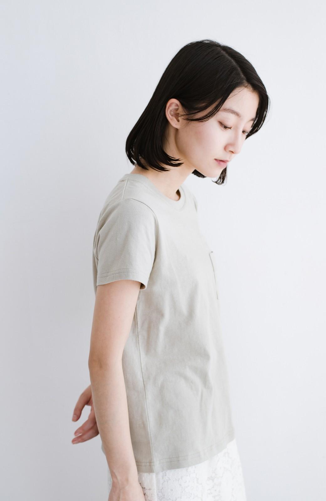haco! Lady Lee ポケット付きコンパクトフィットTシャツ <ベージュ>の商品写真7