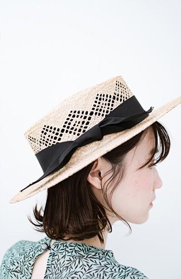 haco! m.m.Orchestra すかし模様のカンカン帽 <ナチュラル>の商品写真