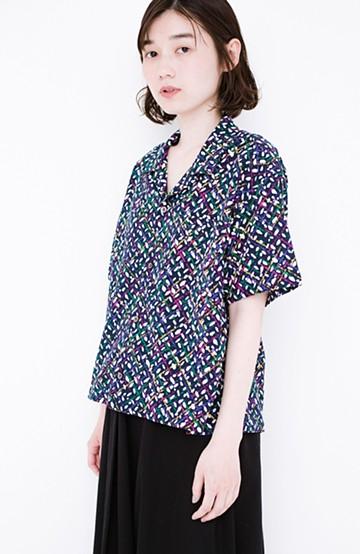 haco! 京都の浴衣屋さんと作った浴衣生地のシャツ <ネイビー>の商品写真