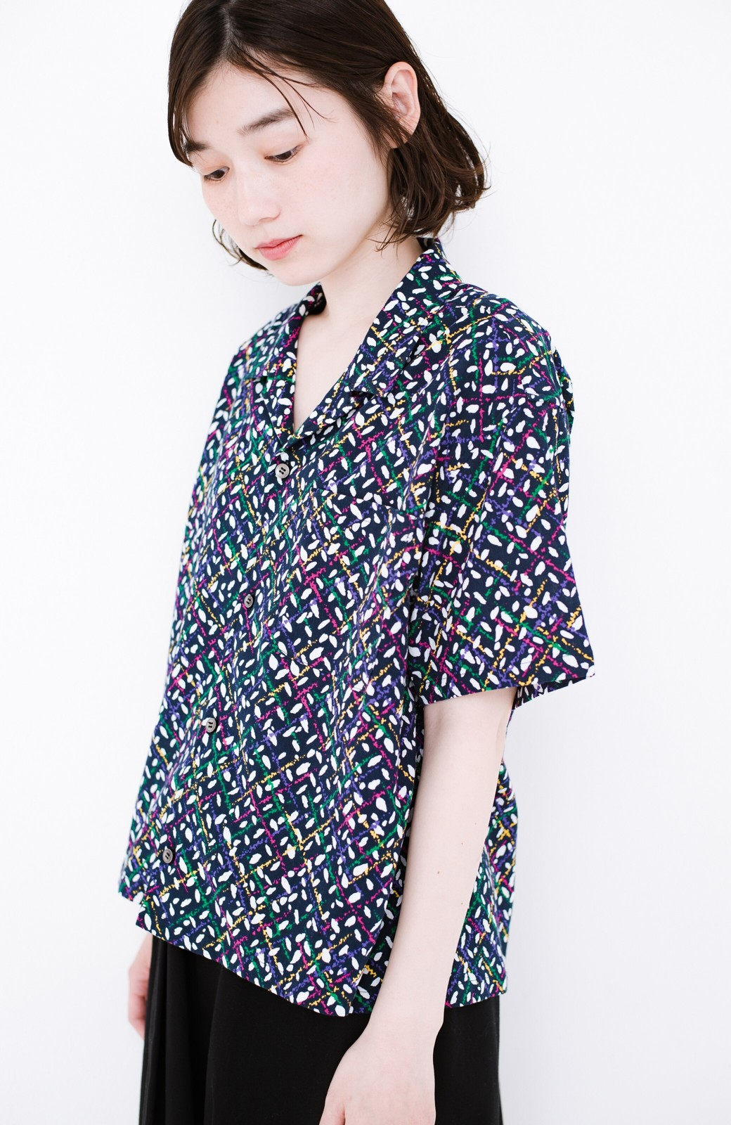 haco! 【今年も再販!】京都の浴衣屋さんと作った浴衣生地のシャツ <ネイビー>の商品写真12