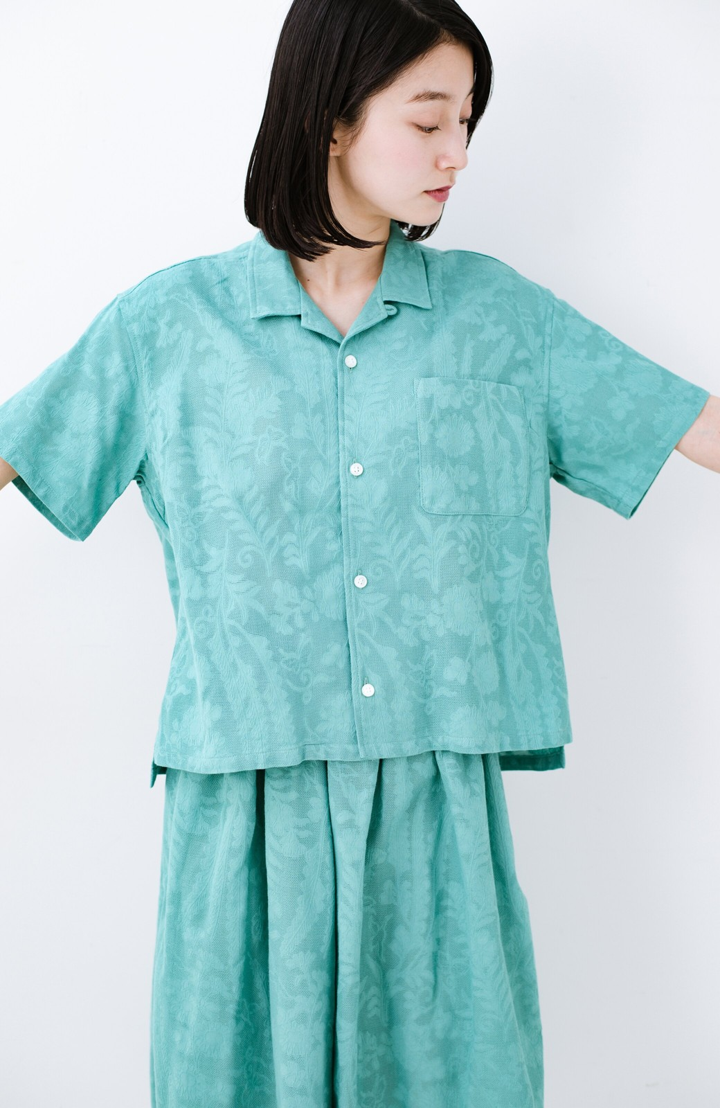 haco! 【今年も再販!】京都の浴衣屋さんと作った浴衣生地のシャツ <グリーン>の商品写真25