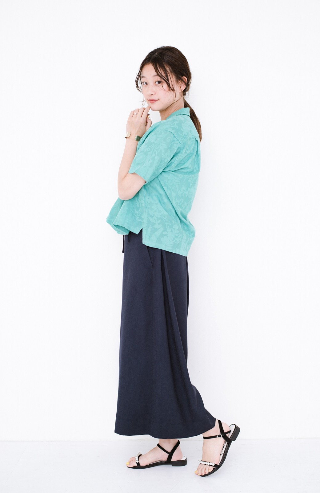 haco! 【今年も再販!】京都の浴衣屋さんと作った浴衣生地のシャツ <グリーン>の商品写真20