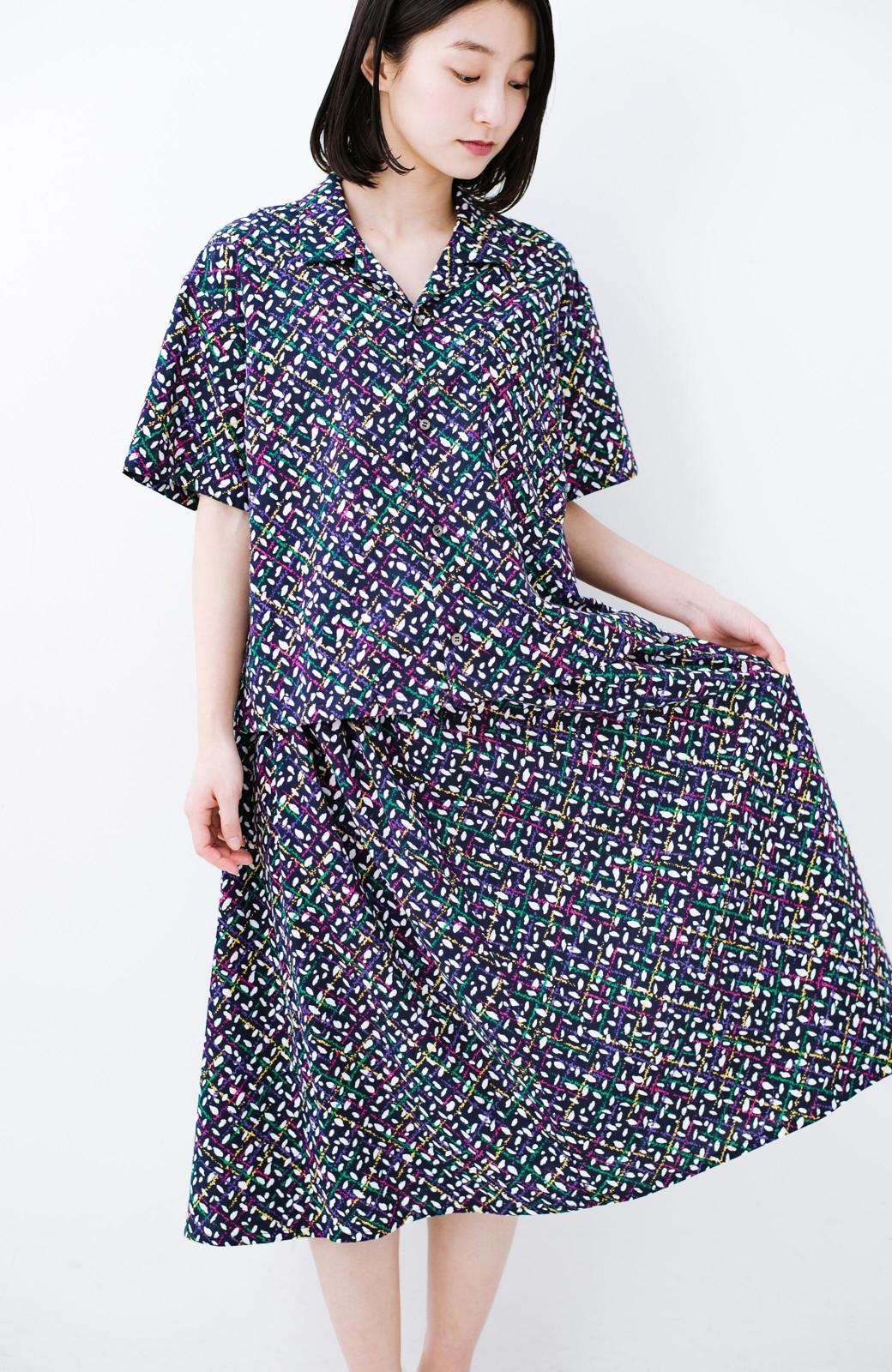 haco! 【コラボ3年目!】京都の浴衣屋さんと作った浴衣生地のスカート <ネイビー>の商品写真19