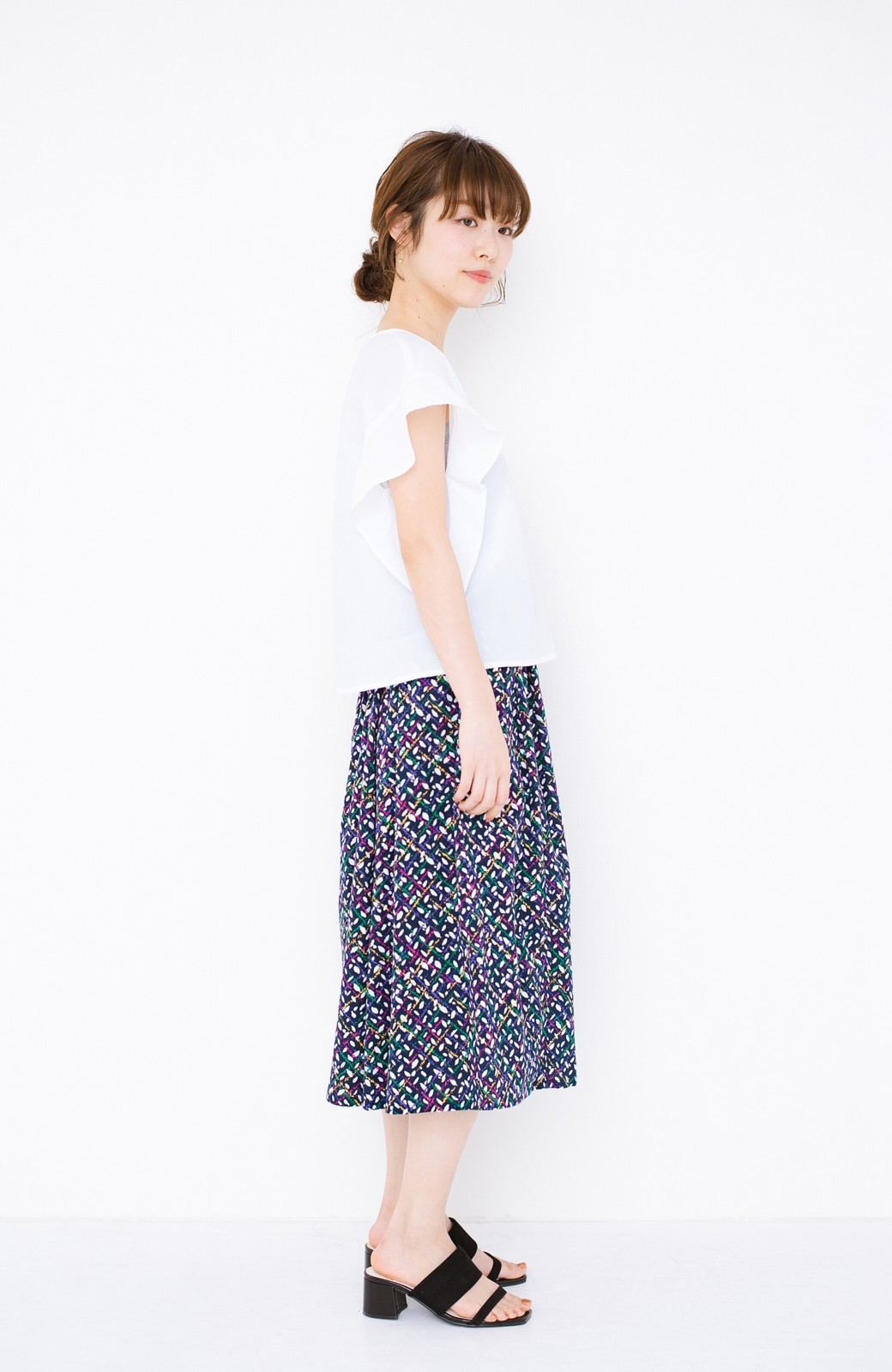 haco! 【コラボ3年目!】京都の浴衣屋さんと作った浴衣生地のスカート <ネイビー>の商品写真17