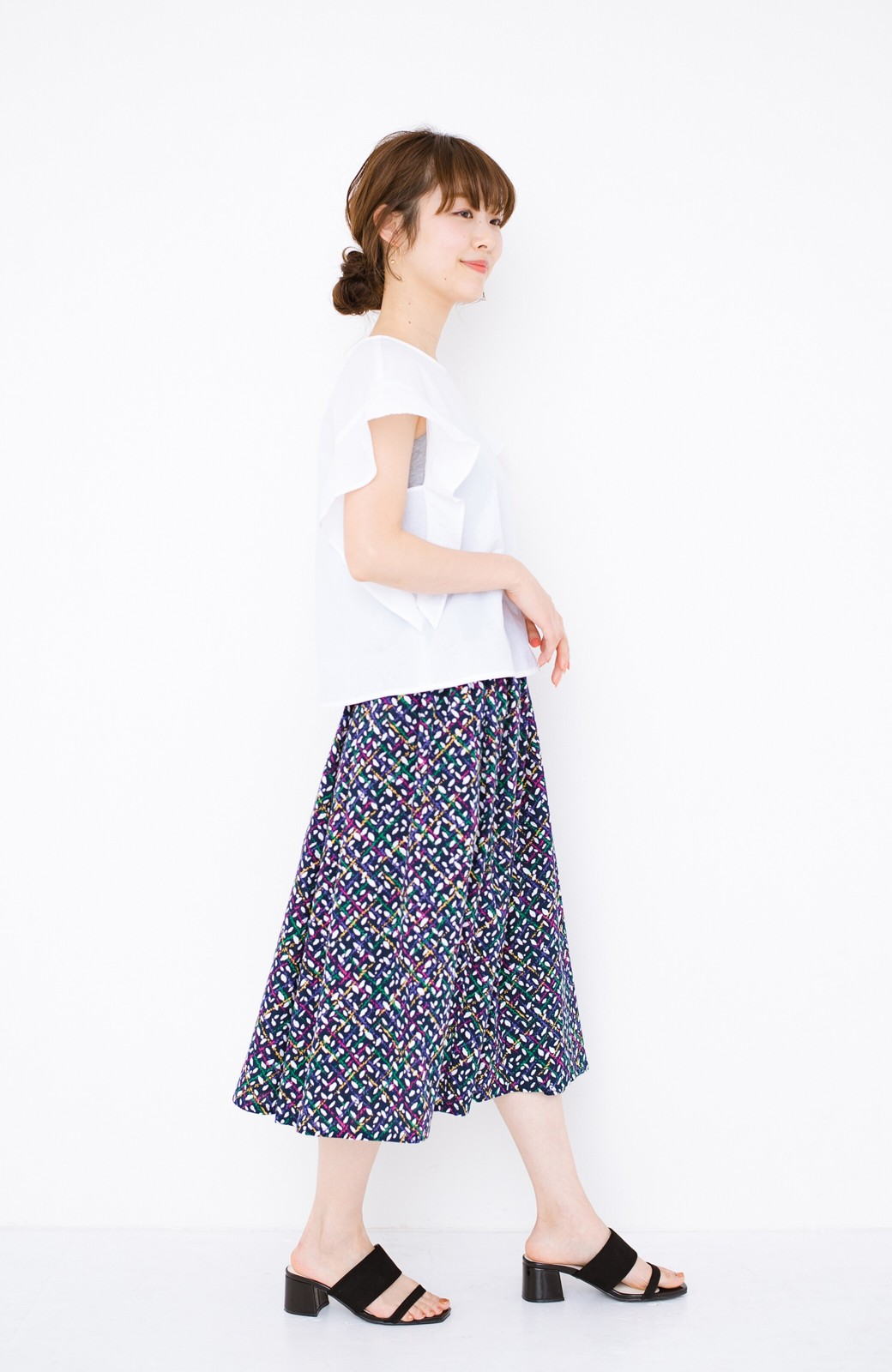 haco! 【コラボ3年目!】京都の浴衣屋さんと作った浴衣生地のスカート <ネイビー>の商品写真9
