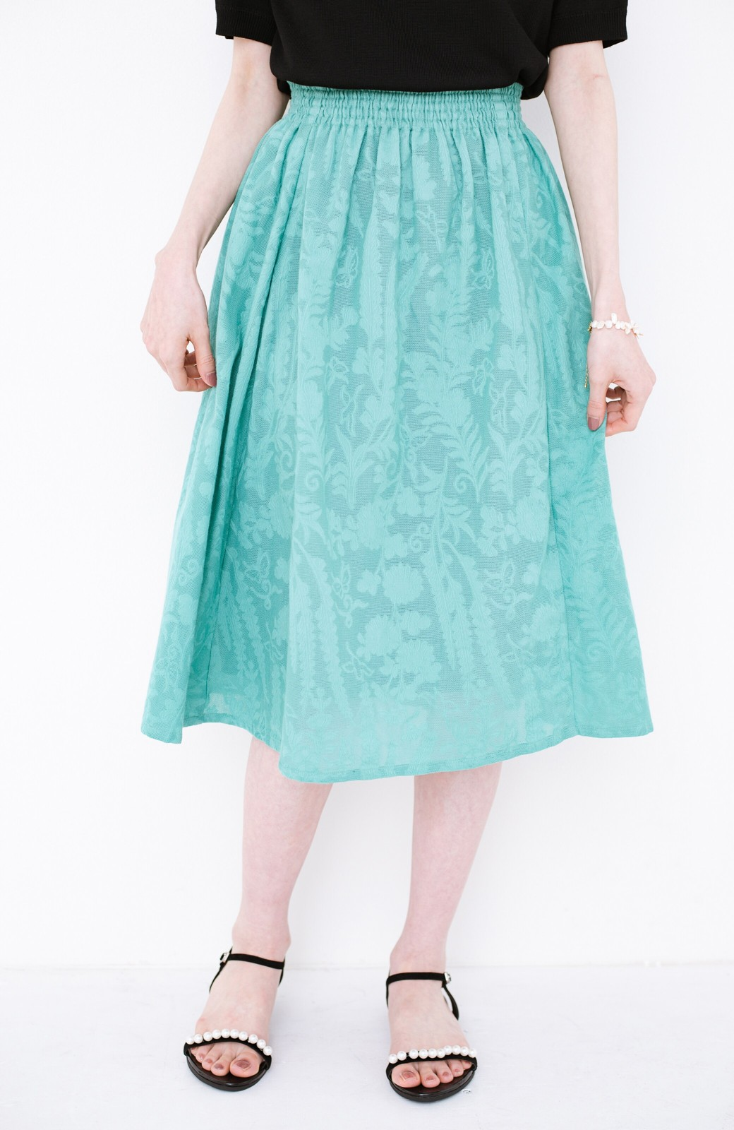 haco! 【コラボ3年目!】京都の浴衣屋さんと作った浴衣生地のスカート <グリーン>の商品写真2