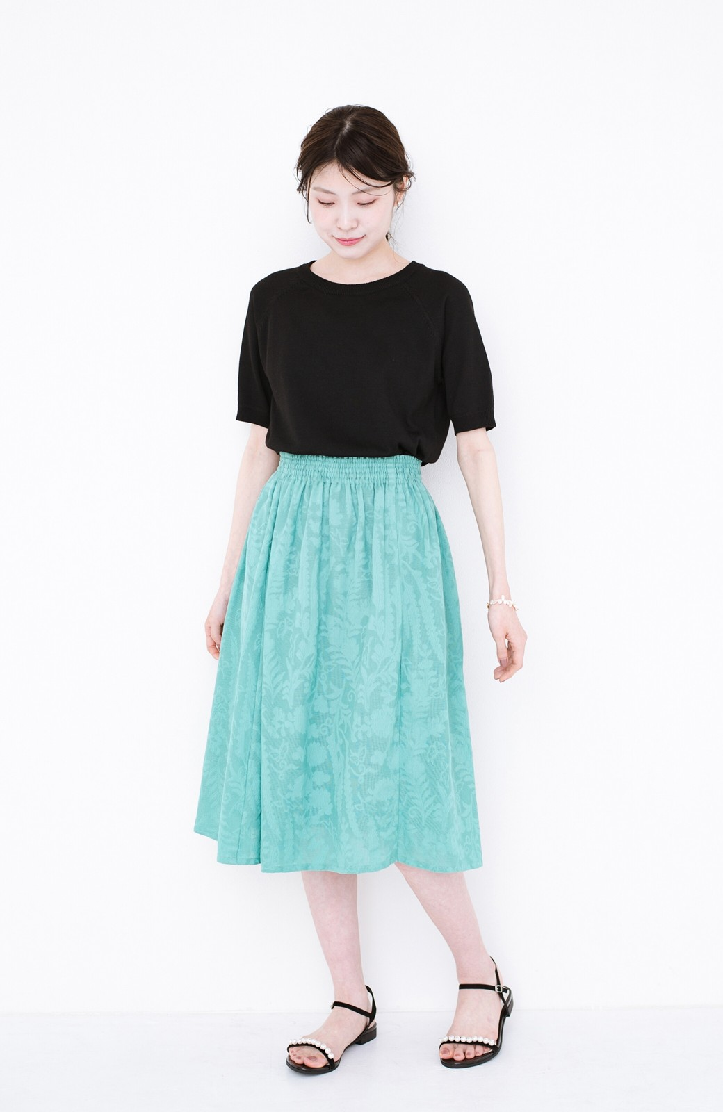 haco! 【コラボ3年目!】京都の浴衣屋さんと作った浴衣生地のスカート <グリーン>の商品写真9