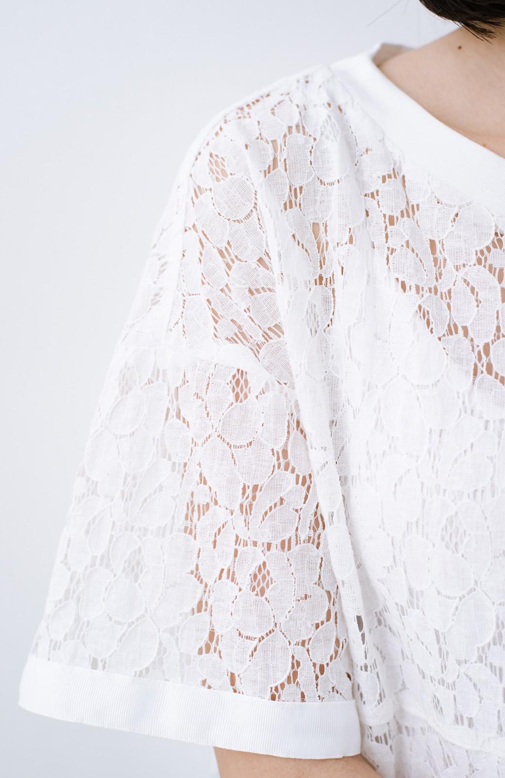 haco! Tシャツ感覚で着られる便利なレースブラウス <ホワイト>の商品写真3