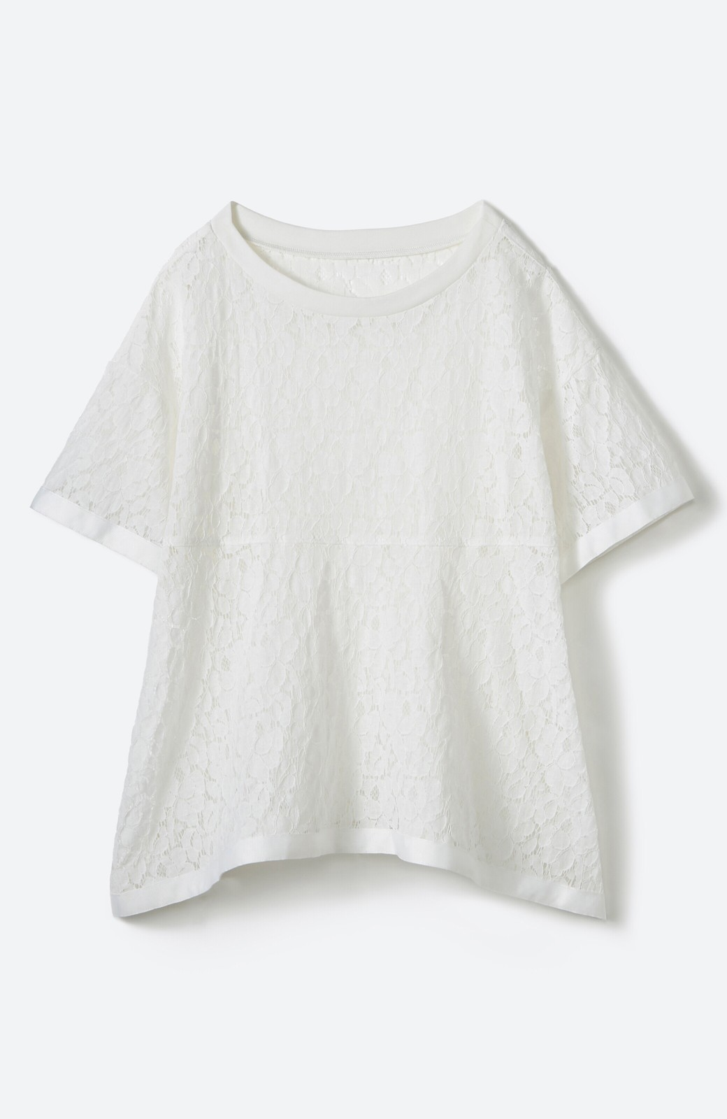 haco! Tシャツ感覚で着られる便利なレースブラウス <ホワイト>の商品写真2