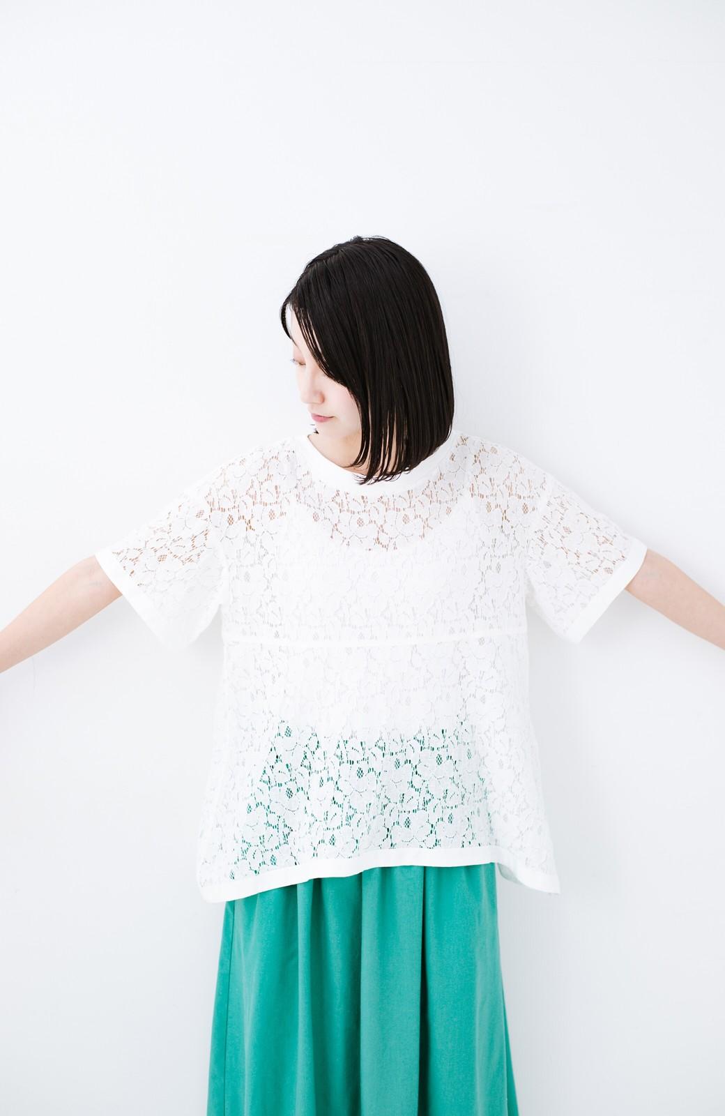 haco! Tシャツ感覚で着られる便利なレースブラウス <ホワイト>の商品写真9