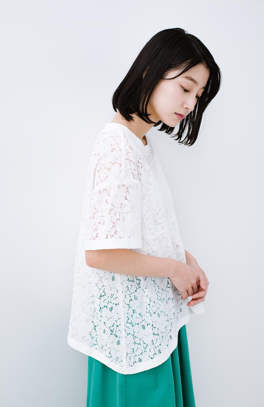 haco! Tシャツ感覚で着られる便利なレースブラウス <ホワイト>の商品写真11