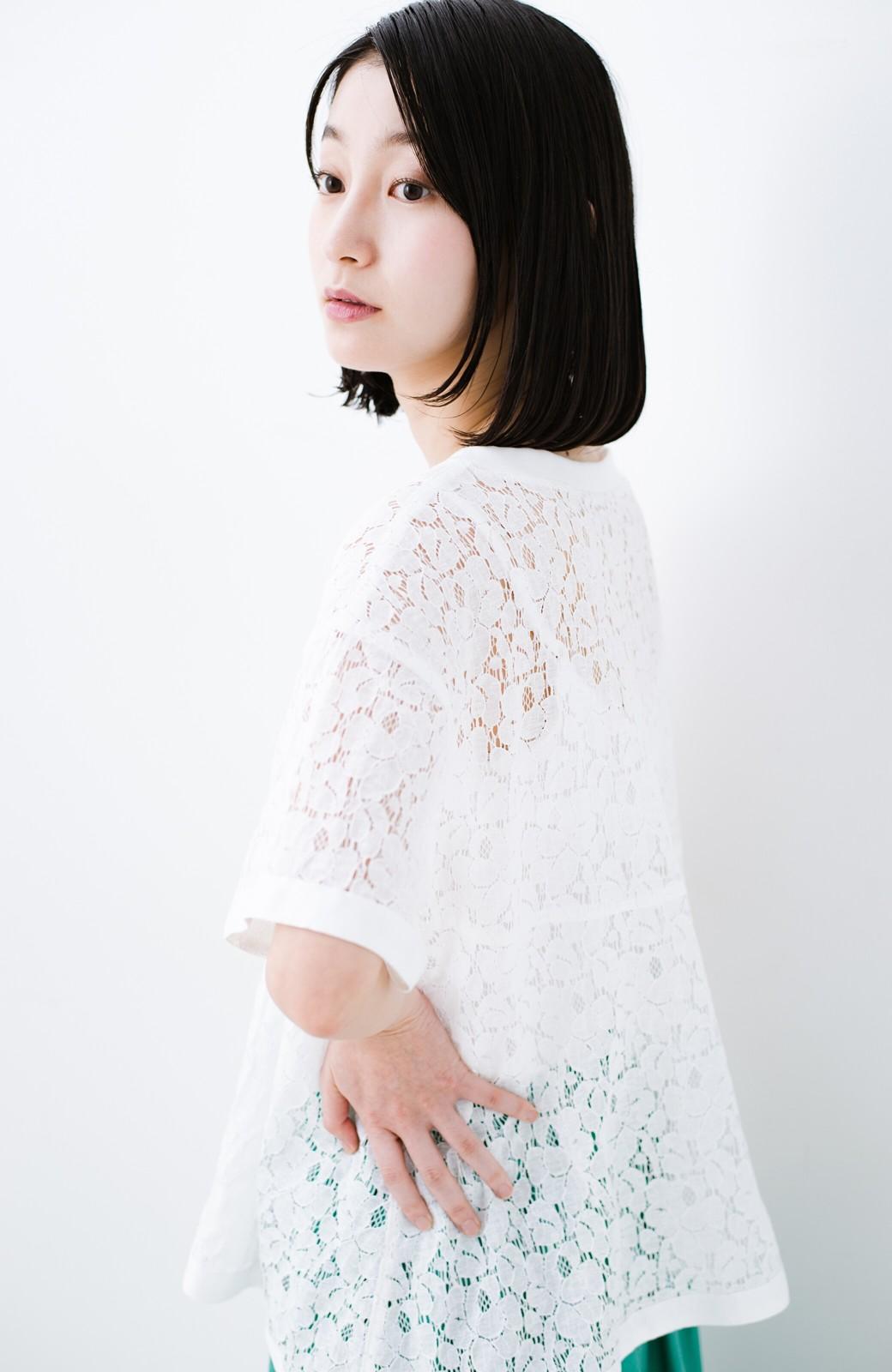 haco! Tシャツ感覚で着られる便利なレースブラウス <ホワイト>の商品写真12