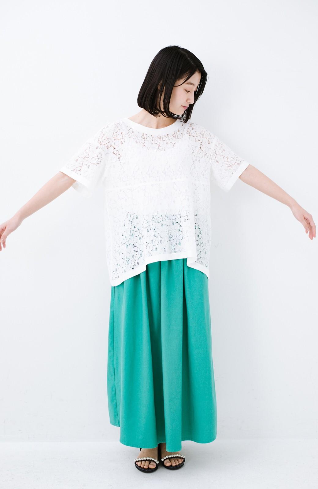 haco! Tシャツ感覚で着られる便利なレースブラウス <ホワイト>の商品写真6