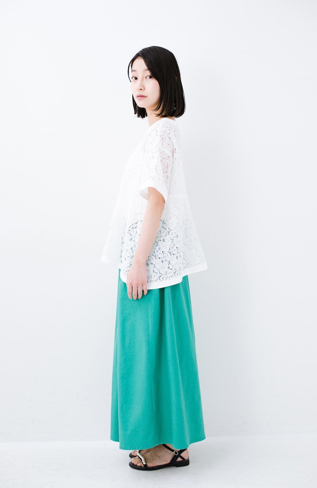 haco! Tシャツ感覚で着られる便利なレースブラウス <ホワイト>の商品写真7