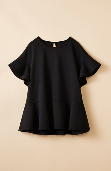 haco! いつものデニムスタイルを女っぽくしてくれる Tシャツがわりに便利なカットソートップス  by que made me <ブラック>の商品写真