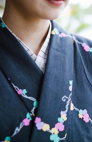 haco! ひでや工房 京都の浴衣屋さんから届いた 浴衣を着物気分で華やかに着こなせる格子柄半衿 <カラフル>の商品写真