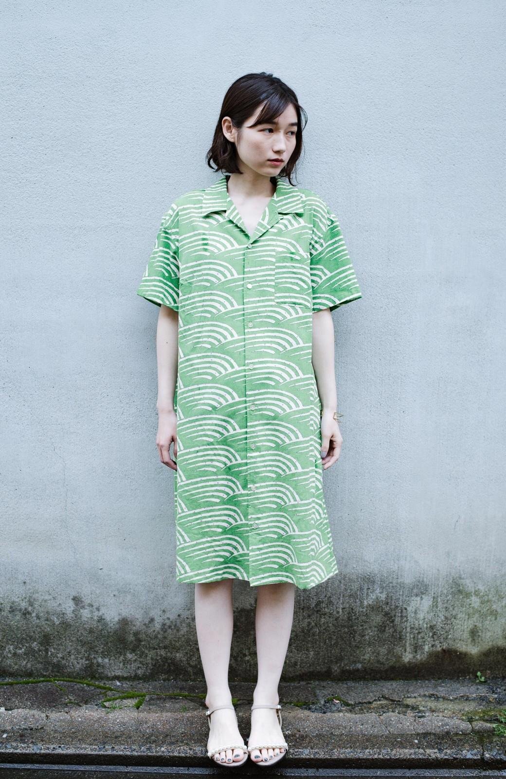 haco! 京都の浴衣屋さんと作った浴衣生地のシャツワンピース <グリーン>の商品写真5