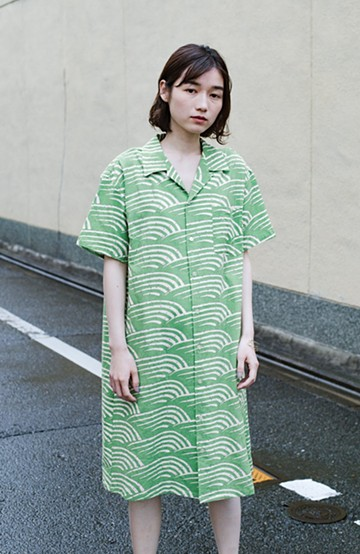 haco! 【今年も再販!】京都の浴衣屋さんと作った浴衣生地のシャツワンピース <グリーン>の商品写真
