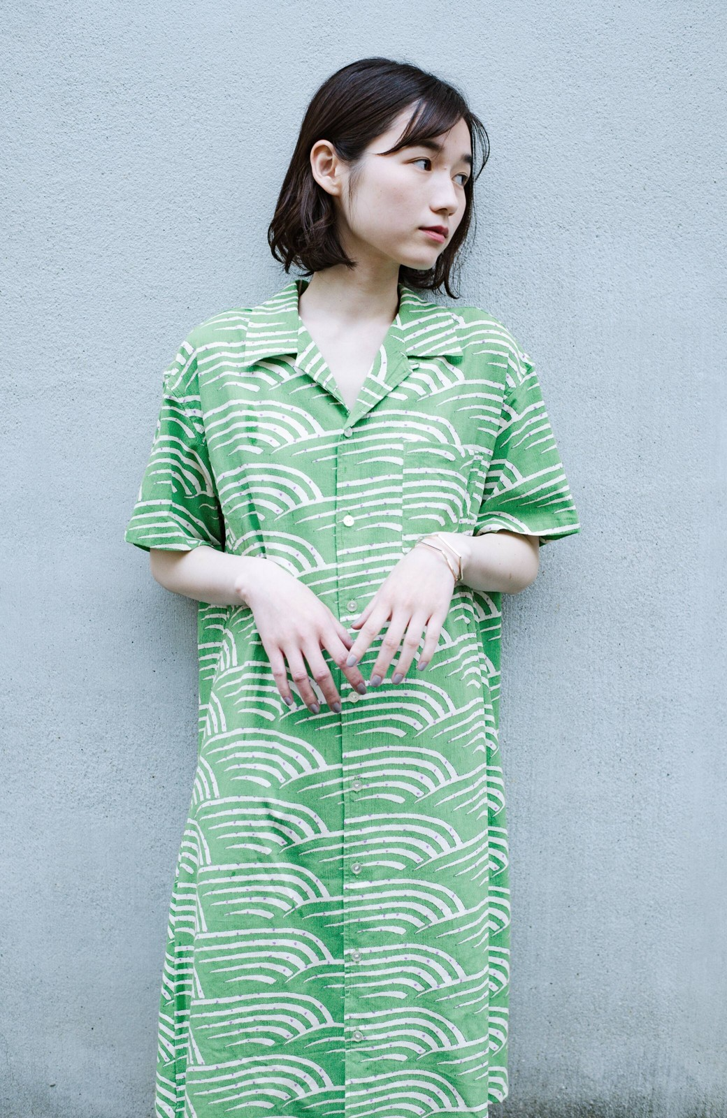 haco! 京都の浴衣屋さんと作った浴衣生地のシャツワンピース <グリーン>の商品写真3