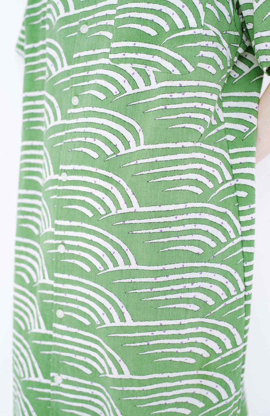 haco! 京都の浴衣屋さんと作った浴衣生地のシャツワンピース <グリーン>の商品写真6