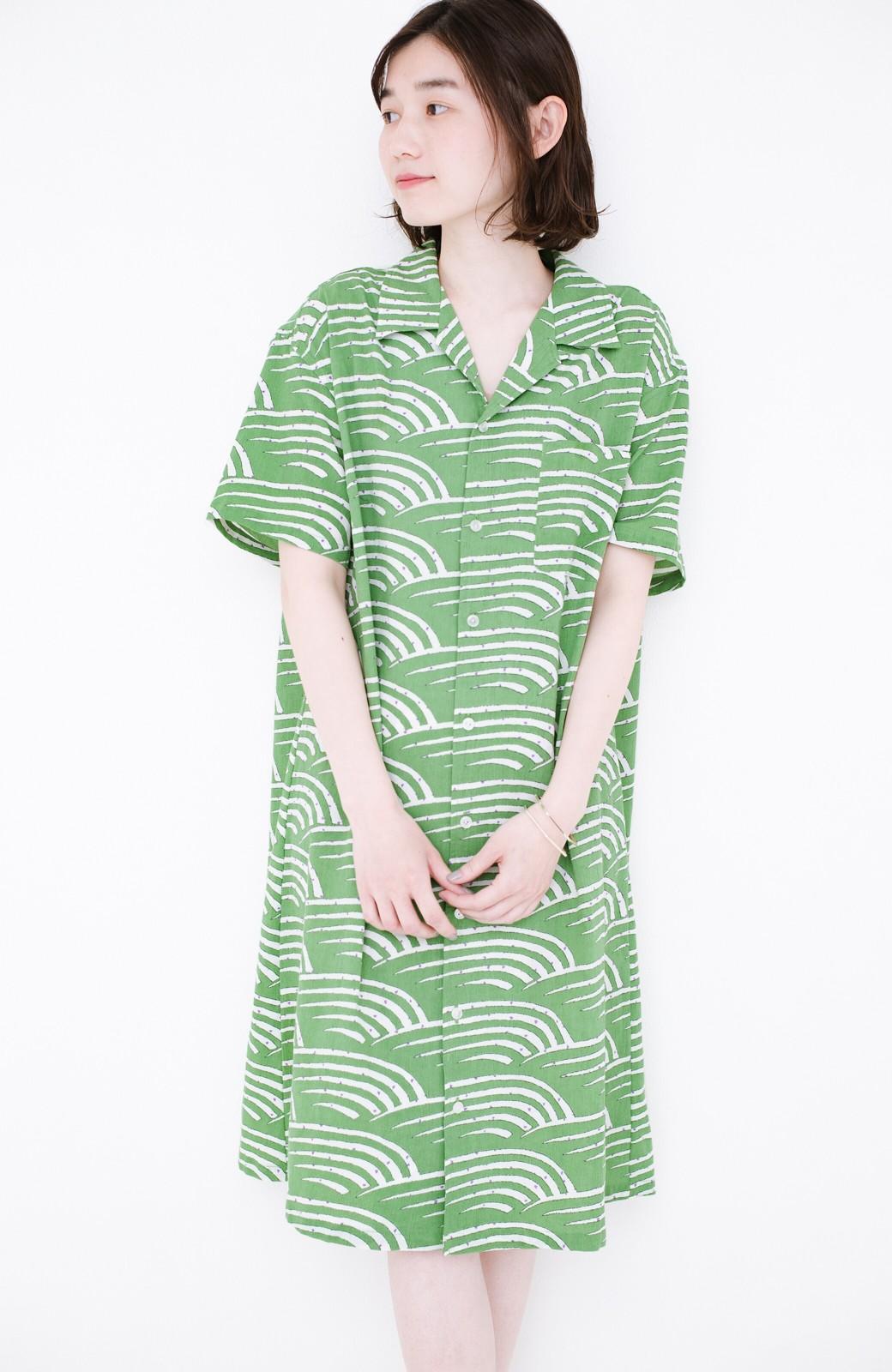 haco! 京都の浴衣屋さんと作った浴衣生地のシャツワンピース <グリーン>の商品写真1