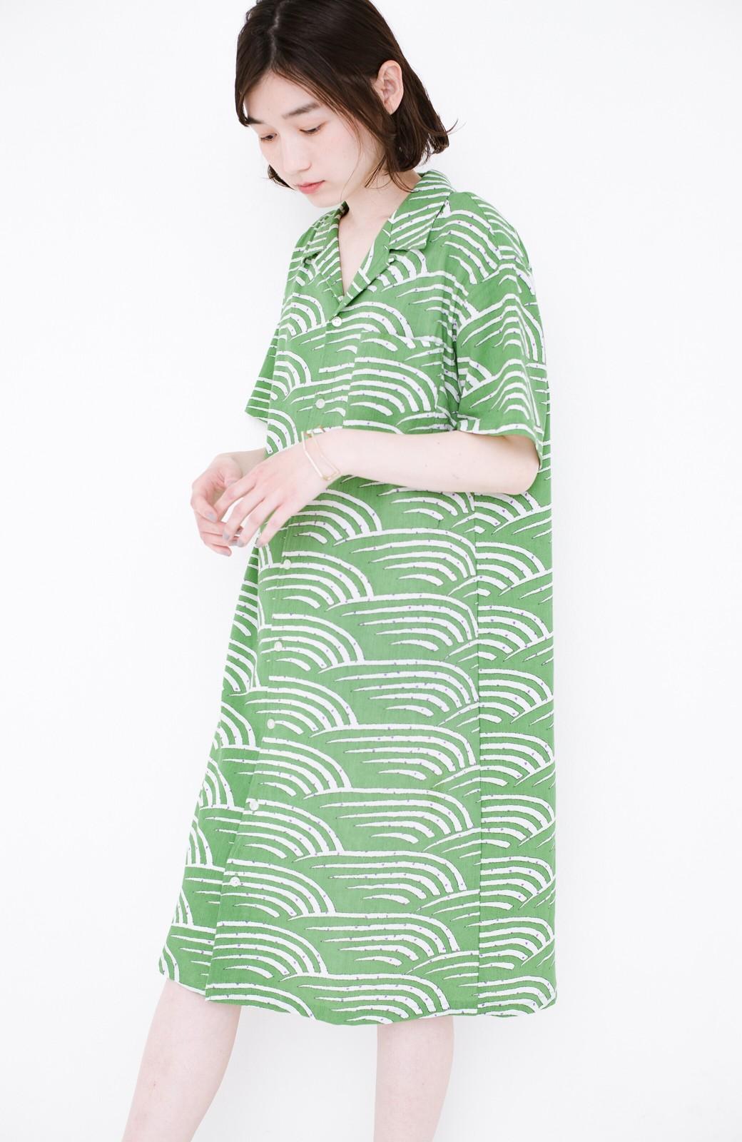 haco! 京都の浴衣屋さんと作った浴衣生地のシャツワンピース <グリーン>の商品写真10
