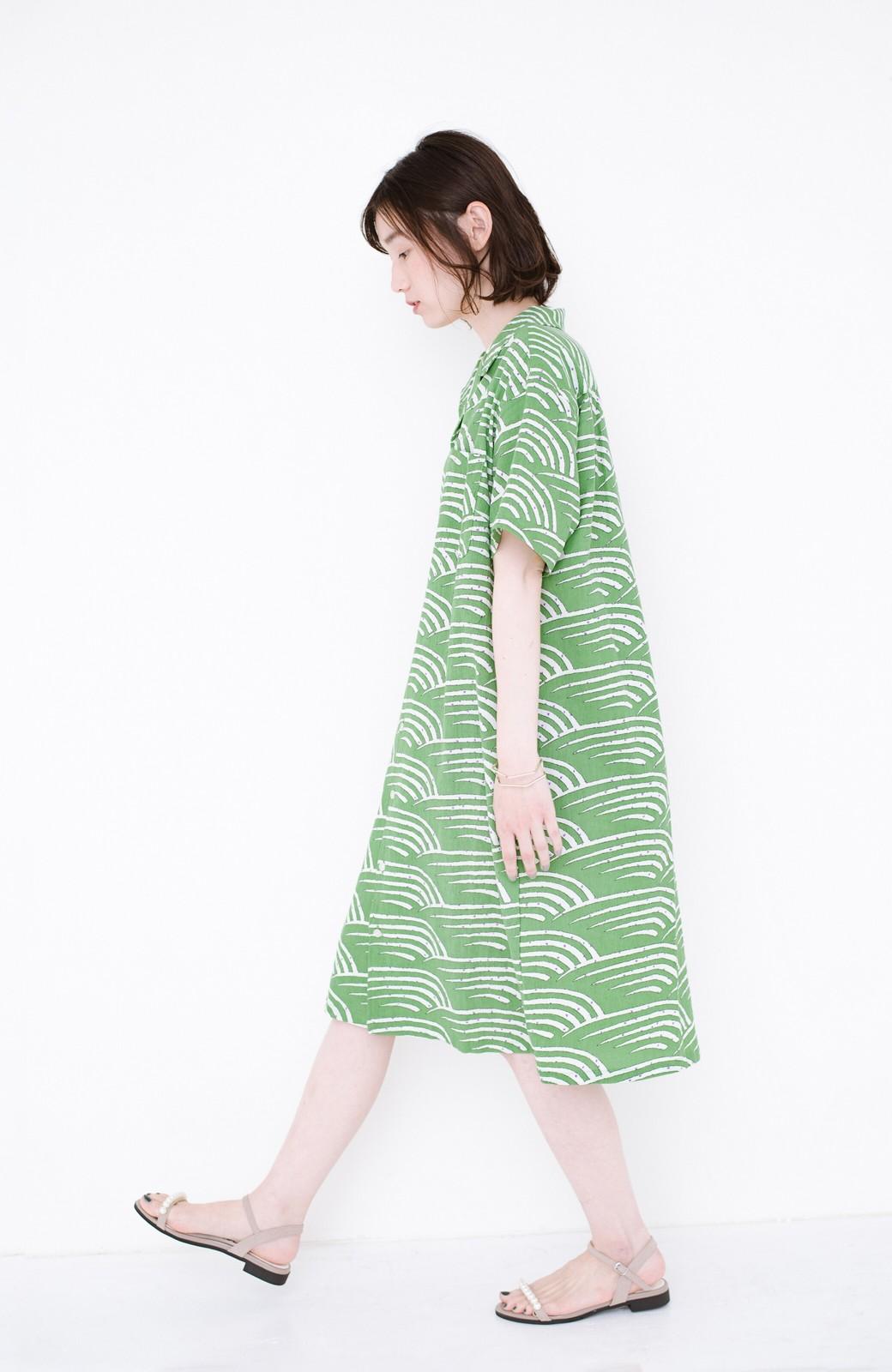 haco! 京都の浴衣屋さんと作った浴衣生地のシャツワンピース <グリーン>の商品写真9